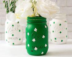 St Patricks Day Mason Jar Set - Irish Flag, Shamrock Mason Jars - Painted…
