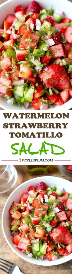 #SaladSunday Watermelon, Strawberry & Tomatillo Salad - Only 10 minutes to make from start to finish and maybe the most refreshing salad you'll have this summer! Vegan and Gluten-Free Recipe #SaladSunday #SaladSunday