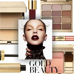 Gold Beauty by pure-vnom on Polyvore featuring polyvore, beauty, Clarins, Stila, Christian Louboutin, Yves Saint Laurent and tarte