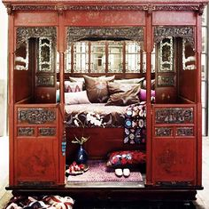 An antique chinese wedding bed