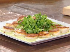 Seared Diver Scallops with Garlic, Bacon Wilted Arugula and Lima Bean Puree Recipe : Emeril Lagasse : Recipes : Food Network