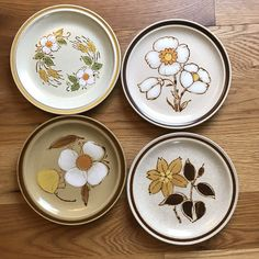 Excited to share this item from my shop: 4 Vintage Mismatched Floral Stoneware Salad Plates/ Mix and Match Dinnerware Plates Vintage Kitchenware, Vintage Plates, Vintage Dishes, Stoneware Dinnerware, Soup Mugs, Lovely Shop, Plate Design, Salad Plates, The Good Old Days