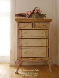 Baby pink and white high chest - Nursery - French dollhouse furniture, 1/12th scale