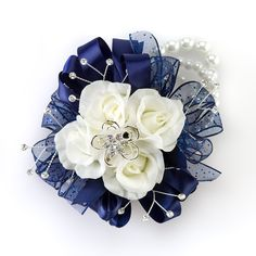 Twilight Corsage Shown with Navy Blue Ribbon Option