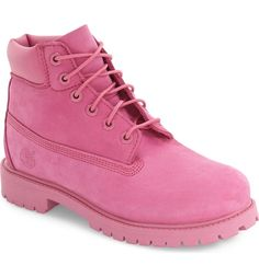 How cute are these classic Timberland boots in pink for the little one?