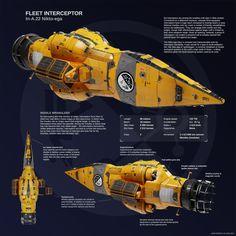 Nikto-ega class interceptor by Eluqqa on DeviantArt Spaceship Art, Spaceship Design, Cyberpunk, Hard Science Fiction, Starship Concept, Space Engineers, Sci Fi Spaceships, Concept Ships, Concept Art
