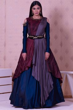 Buy Maroon,Grey & Blue Silk Zardosi Embroidered Draped Gown Online