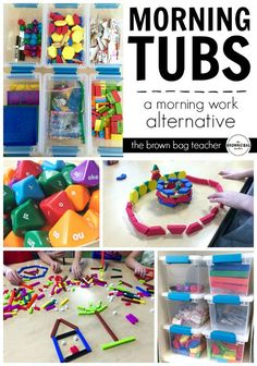 "Replacing morning work with ""Morning Tubs."" Encouraging a hands-on, social, play-based start to the day. I LOVE this idea if you teach in a special education classroom. The tubs are organized, structured, and all contained so there is more independence and success. Great if you teach students with autism and special learning needs. Read more at: http://thebrownbagteacher.blogspot.com/2016/01/a-1st-grade-morning-work-alternative.html"