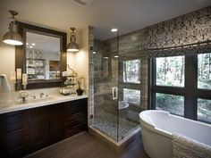 HGTV Dream House, Lake Tahoe: The Master Bathroom Industrial-style pendants, sink accessories and bold damask-patterned drapes finish this master bathroom with style.