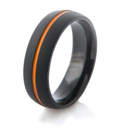 Would you wear something like this? Flat Black Wedding Band with Orange Inlay