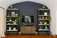 TV console and viewing goals! A decorative and well-decorated living room wall!
