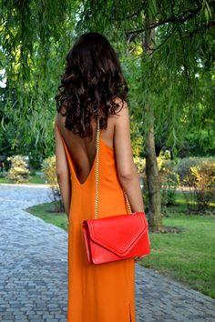Street style chic / karen cox. Bright   orange maxi dress for summer