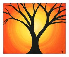 Abstract Sunset Original Canvas Painting - Spring Time Orange Yellow Sunset with a Black Tree Silhouette