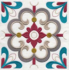Machine Embroidery Designs at Embroidery Library! - New This Week Stencil Patterns, Tile Patterns, Pattern Art, Diy Embroidery, Machine Embroidery Designs, Embroidery Patterns, Art Deco Paintings, Unique Tile, Mandala Drawing