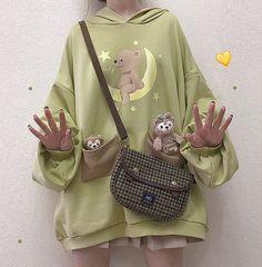 Cute Casual Outfits, Pretty Outfits, Cute Sweaters, Sweaters For Women, Harajuku Fashion, Fashion Outfits, Emo Fashion, Kawai Japan, Thick Hoodies