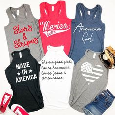 Your chance to brag pretty fashion tops at the lowest price we ever offered. Fourth Of July Shirts, Patriotic Shirts, Summer Tank Tops, Tee Shirt Designs, Vinyl Shirts, Diy Shirt, T Shirts With Sayings, Graphic Shirts, Athletic Tank Tops