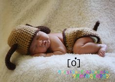 Puppy Dog Hat and Diaper Cover Set Newborn Photo Prop. $55.00, via Etsy.