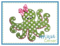 Octopus Dots Girl Applique Design