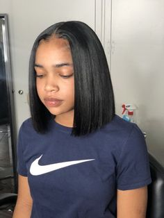on sale at reasonable prices, buy Yolissa Short Lace Front Human Hair Wigs Pre Plucked Bob Wig Natural Black Straight Brazilian Wig Remy Hair from mobile site on Aliexpress Now! Baddie Hairstyles, Black Girls Hairstyles, Straight Hairstyles, Relaxed Hair Hairstyles, Sew In Bob Hairstyles, Unique Hairstyles, Girl Haircuts, Quick Weave Hairstyles, Long Haircuts