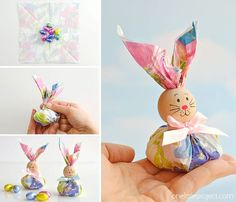 These paper napkin bunny favors are SO CUTE! And they're really easy to make! With dollar store paper napkins and foil covered chocolate eggs you can make adorable Easter treats to give away to the ki Bunny Crafts, Easter Projects, Easter Crafts For Kids, Summer Crafts, Easter Table, Easter Party, Paper Napkins For Decoupage, Bunny Face, Ideias Diy