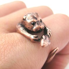 Realistic Otter With Fish Animal Wrap Ring in Copper | Sizes 4 - 9 $10 #otter #animals #cute #jewelry #ring