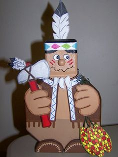 Thanksgiving Indian door stop or use as decoration. Made of concrete patio paver and wood. $25.00, pso4112000@yahoo.com