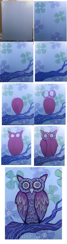 Mod Owl - Easy colors: blue, white, red, yellow brushes: big flat, medium and small round