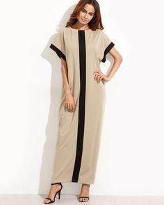 Casual Round Neck Shift Maxi Dress