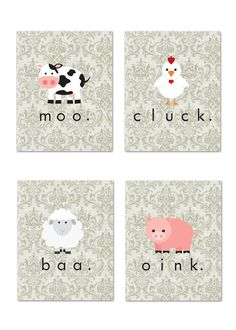 Set of 4 5x7 art prints: Shabby Chic Farm Animals (nursery/child's room). $25.00, via Etsy.