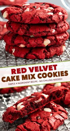 These Red Velvet Cake Mix Cookies are made using just 4 simple ingredients and are on the cooling rack in 20 minutes - including prep time! Great for Valentine's Day or when you need a quick dessert. Galletas Cookies, Cake Mix Cookies, Cupcakes, Sandwich Cookies, Cake Pops, Red Velvet Cake Mix, Red Velvet Cookies, Red Velvet Cake Cookie Recipe, Red Velvet Cheesecake Cookies