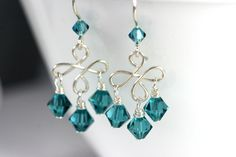 Blue Chandelier Earrings Wire Wrapped Jewelry Handmade Sterling Silver Jewelry Handmade Swarovski Crystal Earrings Crystal Chandelier. $26.00, via Etsy.