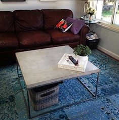 Handmade Furniture Square Concrete-Topped Steel Frame Coffee Table ** For more information, visit image link.