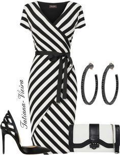 A fashion look from April 2013 featuring striped dress, black leather shoes and kate spade tote bag. Browse and shop related looks. Fashion Mode, Work Fashion, Fashion Looks, Fashion Outfits, Womens Fashion, Ladies Fashion, Fashion Ideas, Mode Chic, Mode Style