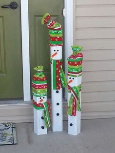 Snowmen wooden set of three by janthonyCreative on Etsy
