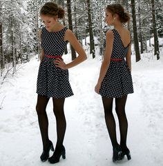 I have this dress! But it's all navy blue with a red belt