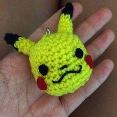 Pikachu Head Keychain - Free Amigurumi Pattern here: http://drunkwithcaffeine.blogspot.com.es/2014/06/my-first-amigurumi-pattern-pikachu-head.html