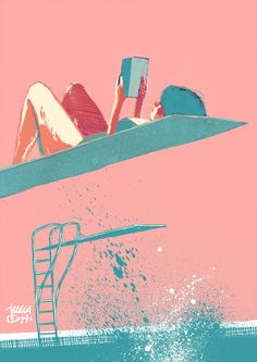 I think I have my summer plans sketched out in pinks, baby blues and books... ~ La  Julia Cejas • Illustration •