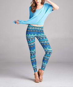 Another great find on #zulily! Paolino Royal & Teal Geometric Leggings by Paolino #zulilyfinds
