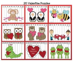 Help students sequence numbers count backwards from 10 to and skip count by to with these 20 valentine-themed puzzles. Packet also includes some in black & white for students to color. Valentines Games, Valentine Theme, Valentines Day Activities, Valentines For Kids, Valentine Cards, Valentine Ideas, Math Activities, Preschool Activities, Monster Activities