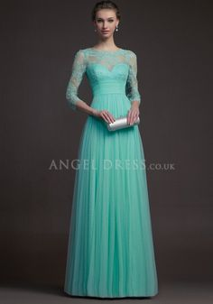 Floor Length Tulle & Lace Jewel Neck A line 3/4 Length Sleeve Empire Waist Evening Gowns