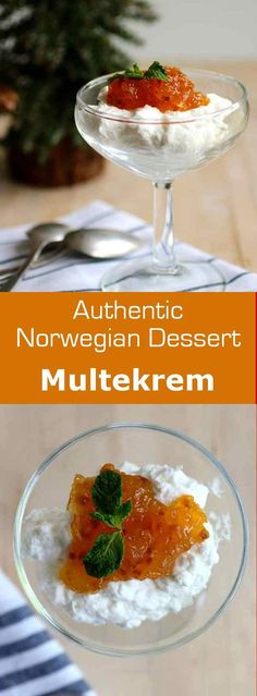 Multekrem is a delicious easy-to-make traditional Norwegian Christmas dessert that consists of whipped cream and cloudberries. #dessert #christmas #norway #196flavors