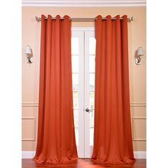 @Overstock.com - Blaze Grommet Blackout Thermal Curtain Panel Pair - Update the window treatments in your home with this pair of flowing blackout thermal curtains. These orange curtains add an instant pop of color accent to the space. Large grommets on top enable you to use these with the designer rods of your choice.  http://www.overstock.com/Home-Garden/Blaze-Grommet-Blackout-Thermal-Curtain-Panel-Pair/8024410/product.html?CID=214117 $65.99
