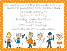 Kids costume party birthday invitation blue or orange chevron kids costume party birthday invitation blue or orange chevron background halloween costume party happy halloween costume party boys party ideas stopboris Choice Image