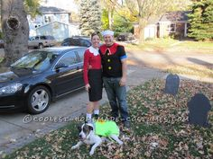 Coolest Popeye and Olive Oyl Couple Costume with a Can of Spinach Dog!... This website is the Pinterest of costumes