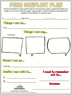 healthy relationship Use this worksheet to come up with a plan for the next time a peer or classmate bothers you, bullies you, or tries to make you upset. Having a plan of action can help you be prepared to respond to their behavior in a positive way! Bullying Worksheets, Therapy Worksheets, Therapy Activities, Play Therapy, Social Skills Activities, Counseling Activities, Social Skills Lessons, Life Skills, Elementary School Counseling