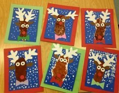 Kindergarten Reindeer-trace foot for the head-sponge painting-winter art-Art wit. Kindergarten Christmas Crafts, Christmas Art Projects, Winter Art Projects, Kindergarten Art, Xmas Crafts, Preschool Crafts, Kids Christmas, Reindeer Craft, Theme Noel