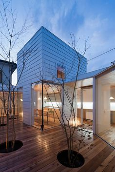 Amazing Wooden Sky Catcher House Decor by Acaa : Lovely Wood Terrace With Trees