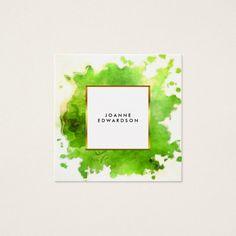 Green gold watercolor splatter splash professional square business card Custom office supplies #business #logo #branding