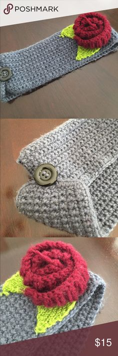 Rosette Gray Earwrap Headband Adorable Rosette Headband/Earwrap. Gray, burgundy, and green. Great accessory for winter months! Accessories Hair Accessories