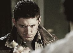 [GIF] This. Jensen's face after drinking the spiked eggnog. Jared's face watching him. 3x08 A Very Supernatural Christmas
